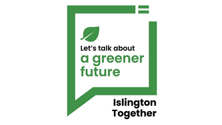 Let's talk about a greener future: Graphic with the words