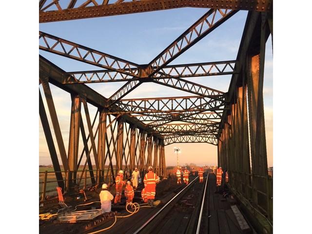 Rail engineers expect to complete repair works on rail bridge in Manea ahead of weekend services: Manea bridge-4