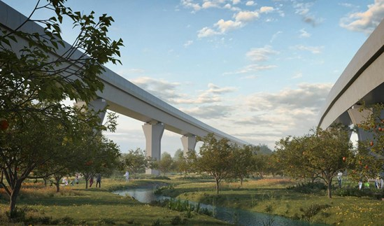HS2 reveals designs for new green public spaces in Water Orton: 01 View of potential Orchard