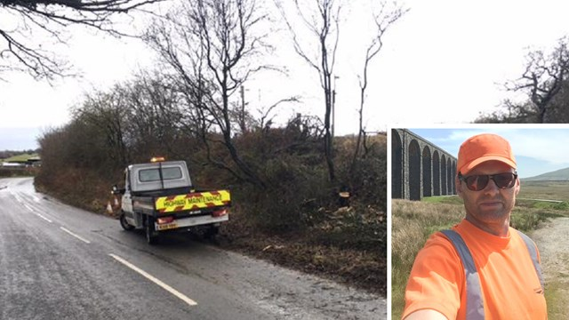 Railway workers branch out into road safety by clearing fallen tree: Fallen tree removed from Hollins Lane composite