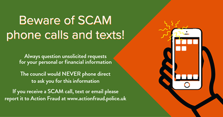 Be on alert for bogus Council Tax phone calls and emails: Beware of scam calls and texts