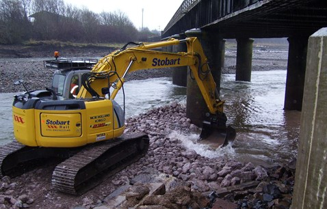 Workington viaduct scour protection
