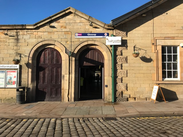 Glossop station entrance