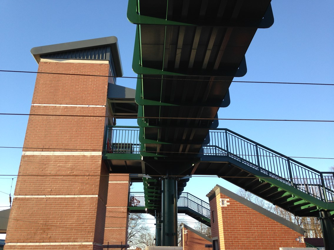 Leyland station improvements near completion: New footbridge and lifts at Leyland station close up