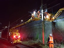 Overhead power lines between Preston and Blackpool being connected to the WCML