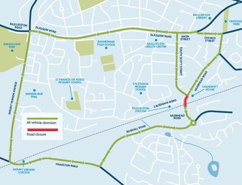 Muirhead Road diversion map