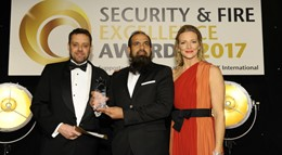 Muhammad Fahim, centre, picks up the 'Security Manager of the Year' award.
