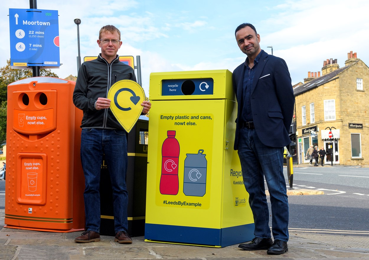 Image 1 Rob Greenland of Zero Waste Leeds with Executive Member Cllr Rafique and the recycling-on-the-go bins