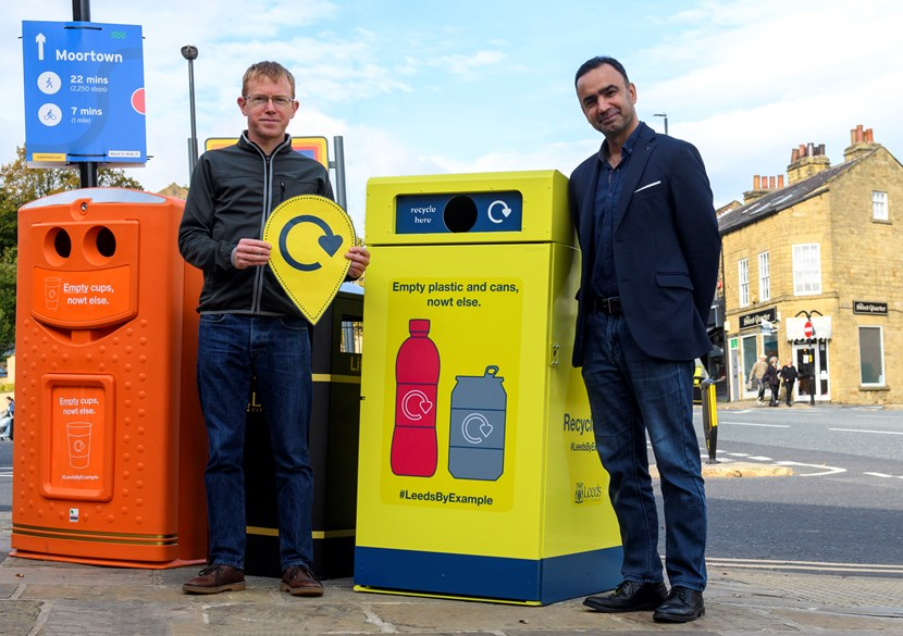 New bins launched across Leeds to boost recycling 'on-the-go': Image 1 Rob Greenland of Zero Waste Leeds with Executive Member Cllr Rafique and the recycling-on-the-go bins