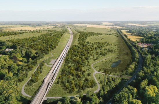 Green light for HS2's ambitious Chiltern tunnel chalk grassland project: Chilterns tunnel southern entrance (Colne Valley Western Slopes elevated view)