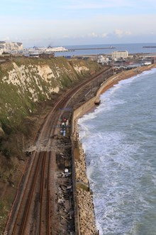 Dover sea wall high view: Dover sea wall high view