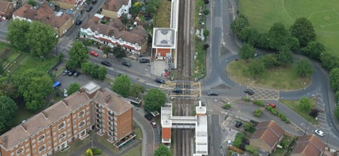 Mitcham Eastfields, pictured from the Network Rail Helicopter