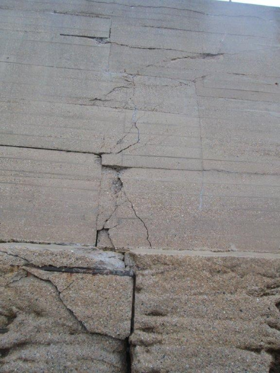 Cracks on the sea wall at Dover, Kent