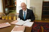 Scottish Cabinet Paper Release: Minister for Parliamentary Business Joe FitzPatrick with the newly-released Scottish Cabinet papers from 1999