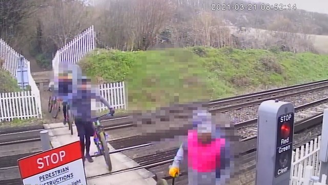 Pedalling to disaster – Network Rail issues a safety warning to cyclists after near misses at level crossings: CCTV footage of cyclists-2