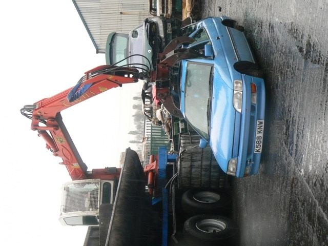 Car crushing: Image courtesy of BTP.  A vehicle suspected of being used in crime is crushed