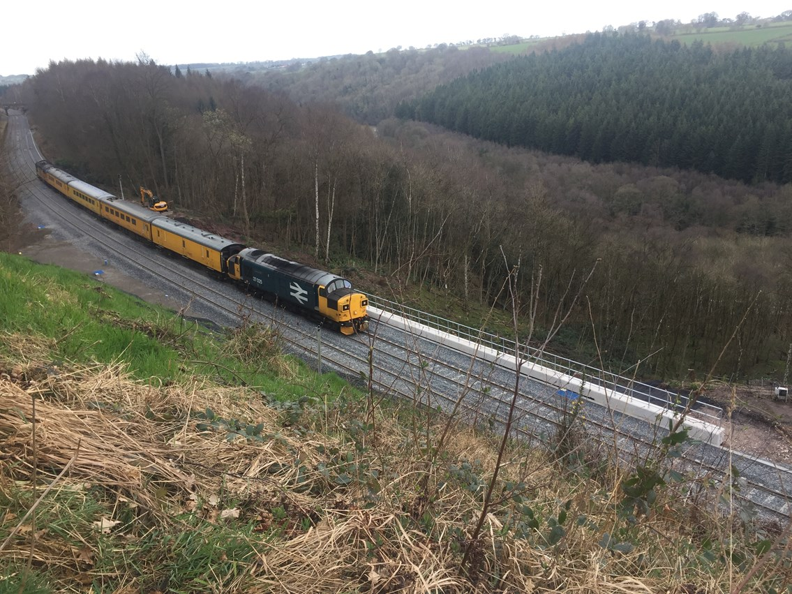 A Network Rail test train travels through Eden Brows ahead of the line reopening