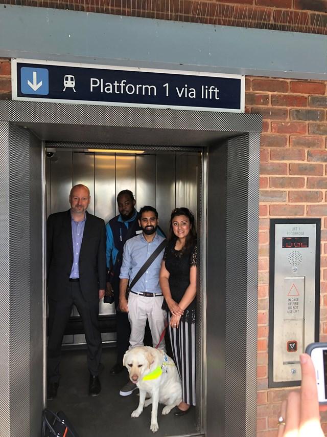 David Statham, Don Simms, Dr Amit Patel, Nus Ghani MP and Kika at New Eltham