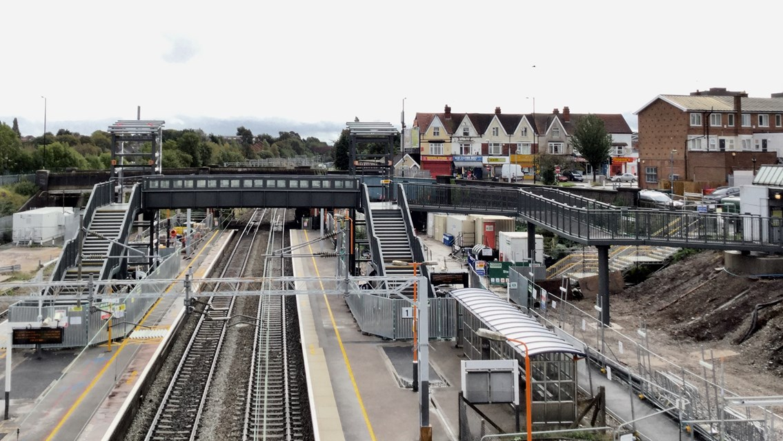 Stechford station has 'lift off': accessibility transformation reaches major milestone: Panoramic view of the partially built new footbridge at Stechford station - October 2019