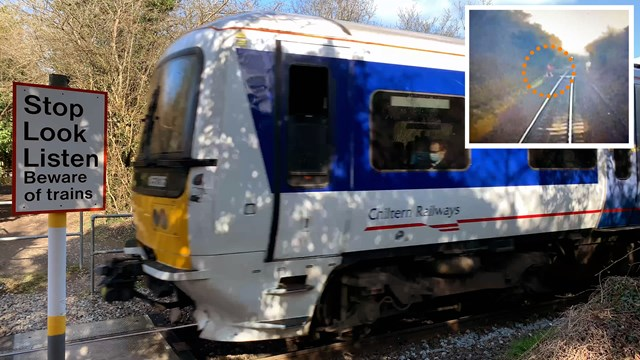 Level crossing safety plea after train's near miss with jogger: Ridgeway level crossing composite