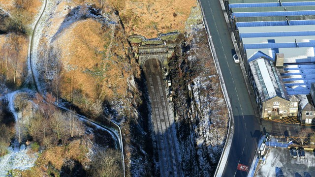One of the world's oldest railway tunnels gets some tender loving care: Summit Tunnel aerial image Calderbrook end winter 3