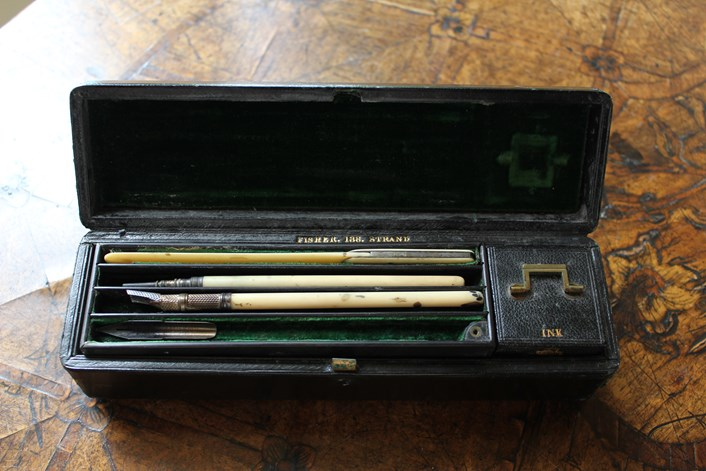 Marianne Nicholson's pen set: This pen set belonged to Marianne Nicholson. She would have used it to write all her letters to Florence Nightingale when she was young. It contains a pen with nibs, ink, a pen wipe, a seal engraved with MN and a stick for rubbing paper ready for a wax seal.