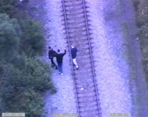 Young people trespassing on the railway