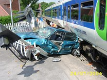 Level crossing incident involving car image 1