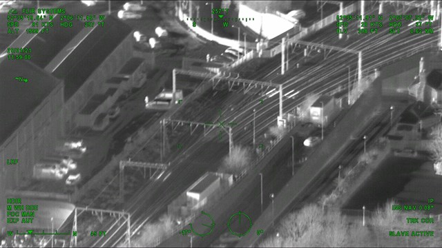 Aerial thermal image showing heated points on approach to Wolverhampton station - Credit: Network Rail Air Operations team