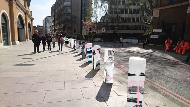London Bridge Abessira art: A mock-up of how the St Thomas Street bollards will look between 15 September and 26 November.