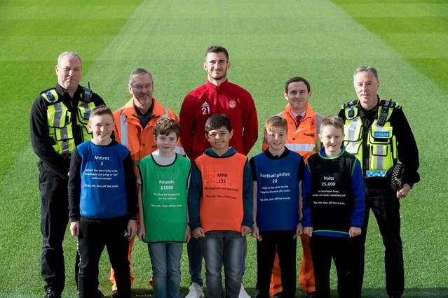 Network Rail and Aberdeen FC team up for rail safety: Aberdeen safety campaign, October 2018