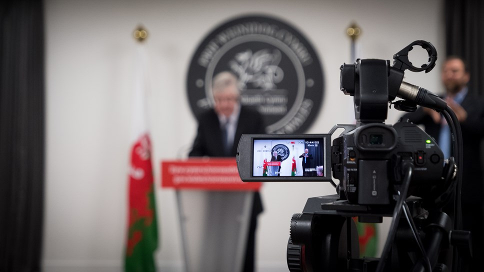 VIDEO: First Minister, Mark Drakeford, sets out position in Wales ahead of lockdown review tomorrow: Press Conference Camera JPEG High Res