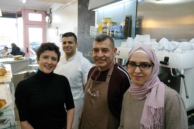 (L-R) Ms Gougeon, Mohamed Helm, Bashar Helmi, Tasnim Helmi