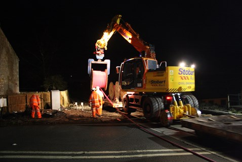 Cable being installed at trial site
