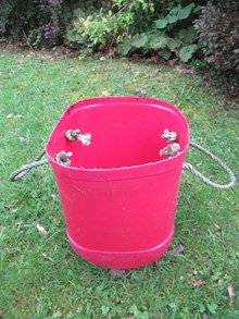 Forvie NNR - bucket with rope handles made from beach finds - credit SNH