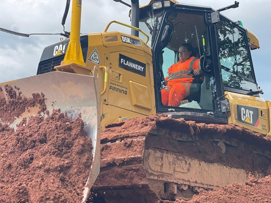 Danielle operating plant machinery at a HS2 site