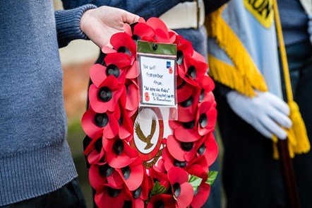 Hand holding a poppy wreath. Photo from 2019's Remembrance Day service at Islington Memorial Green