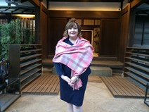 Fiona Hyslop at Anyoin Temple, Toshima Ward, potential venue for Scottish performers