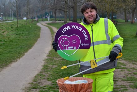 Jason in the Council's park cleasing team: Jason is supporting the 'Love Your park' anti-littering campaign. Photo taken in Prospect Park.