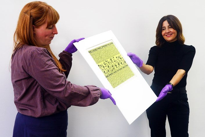 Bownas archive: L-R Natalie Raw, Leeds Museums and Galleries curator of dress and textiles and Rugby-based gallery professional Chelsea Cefai with the Sheila Bownas collection.