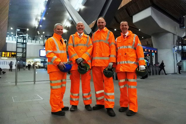 Amtrak vice president sees London Bridge investment: From left to right - Andrew Hutton, Network Rail; Mike Goggin, Steer Davies Gleave; Stephen Gardner, Amtrak, and Steve Knight, Network Rail