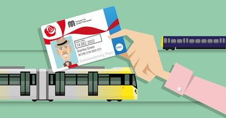 A cartoon of someone holding up a pension-age concessionary travel pass: A cartoon of someone holding up a pension-age concessionary travel pass