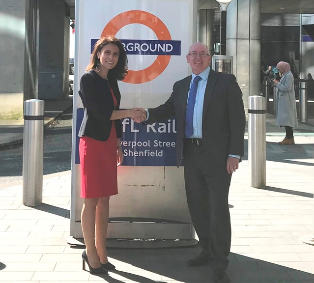 Everybody on board to drive railway improvements in the Anglia region: Meliha Duymaz and Arthur Leathley 2 - outside Stratford station