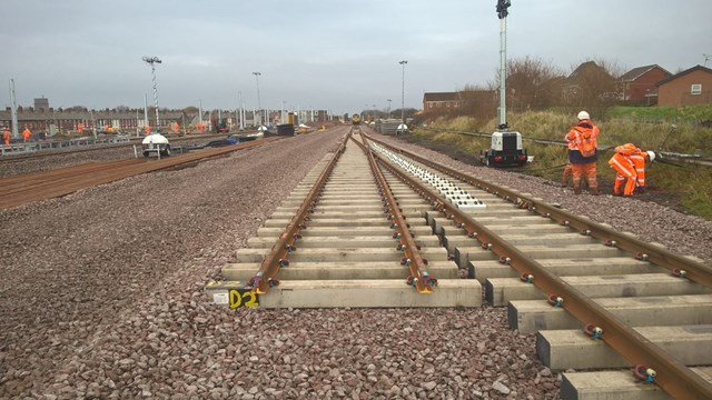 Blackpool North station approach new track Nov 2017