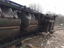Lewisham wagon upside down: The underside of a wagon derailed at Lewisham