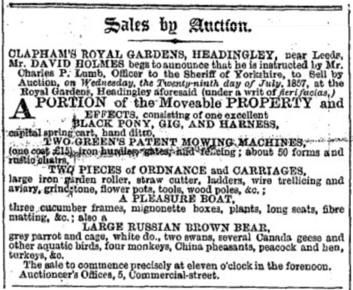 A Garden Through Time: Advertisement for the auction which would sell some of the assets of the Leeds Zoological and Botanical Gardens when it was forced to close. Items up for sale included a large Russian brown bear.