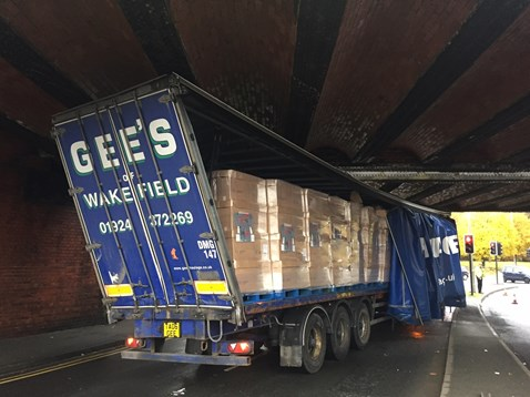 A lorry stuck under a bridge at Horbury Junction, Wakefield on 14 November 2016