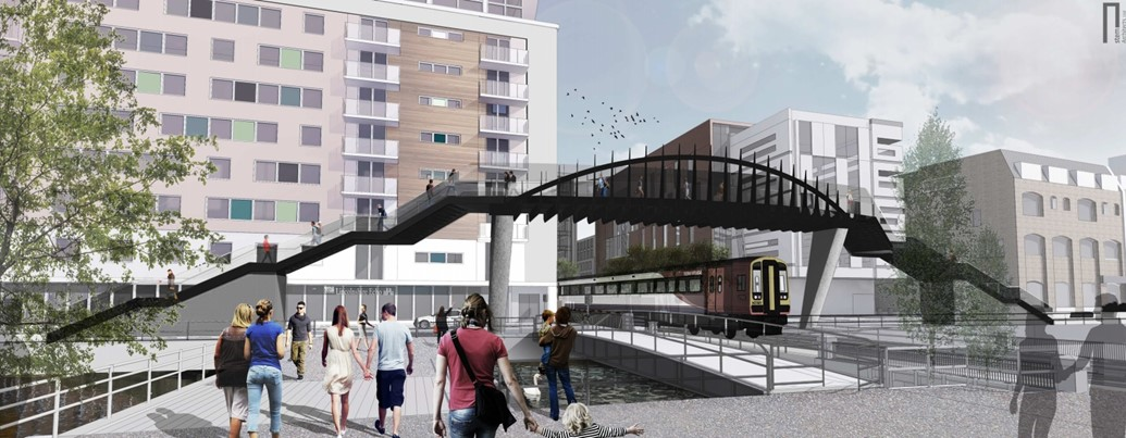 Network Rail submits plans for second Lincoln footbridge: The proposed Brayford Wharf East footbridge in Lincoln