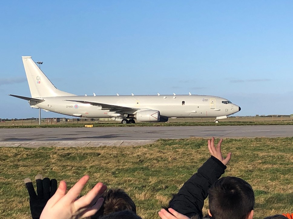 Front row seat for 240 Kinloss pupils as Pride of Moray touches down in UK for the first time: Kinloss Primary P-8A arrival