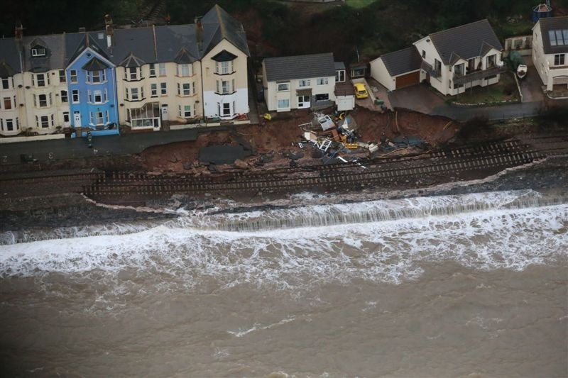 Network Rail secures further funding for Exeter to Newton Abbot resilience upgrade plan: Dawlish aerial view of 2014 damage